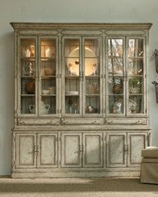 I shall redo my momma's hand me down china cabinet to look like this.