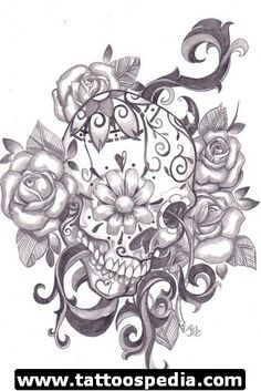 NO skull - mother earth/indian princess like the surrounding elements, but not really roses-cherryblossoms instead?  like the barbed swirls