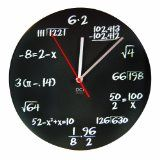 DCI Matte Black Powder Coated Metal Mathematics Blackboard Pop Quiz Clock, 11-1/2 Diameter $18.79