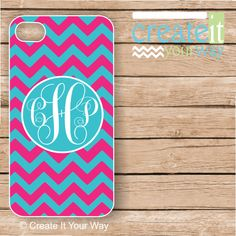 Monogram iPhone 5 Case - Hot Pink and Turquoise Monogram iPhone Case, iPhone 5 Case, Monogrammed iPhone Case  IPHONE 5 (iM3041)