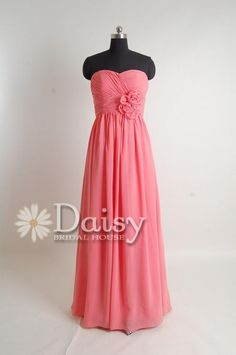 2013 Coral Long Chiffon Bridesmaid Dress by DaisyBridalHouse, $99.00