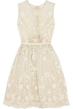 NEEDLE & THREAD Embroidered silk-organza dress