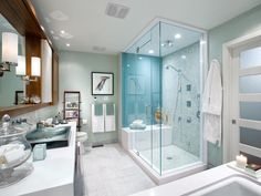 Glass accent wall in shower