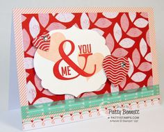Stampin' Up! Sweet Sayings note cards and Fresh Prints DSP stack plus the Perfect Pennants set = cute Valentine card! by Patty Bennett www.PattyStamps.com