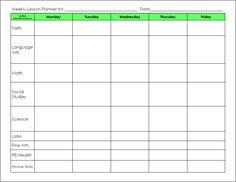 blank preschool weekly lesson plan template | lesson templates weekly planner templates unit plan templates ...