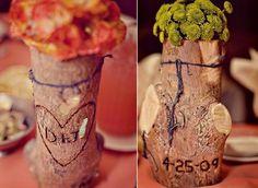 Natural, log centerpiece, midwest, bohemian, simple, wedding idea