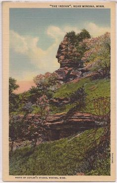 Indian Rock Mountain postcard from Winona, Minnesota www.visitwinona.com