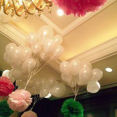 balloons + tissue pom