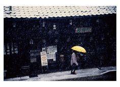 window, yellow umbrella