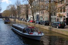 Canal boats in Amsterdam.