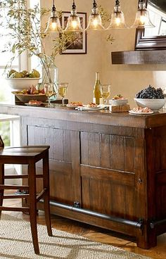 In-home bar with pendant lighting