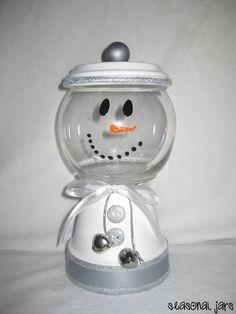 Medium Sized Clay Snowman Candy Jar dish by SeasonalJars on Etsy, $14.99