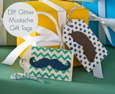 Mustache crafts - easy wood glitter gift tags mustach craft, glitter gift, gift tags