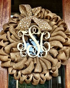 Burlap Wreath - Etsy Wreath - Fall Wreaths for door - Door wreath - Monogram Wreath - Initial Wreath on Etsy, $90.00