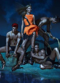 Kate Moss, Joan Smalls, and Nearly Naked Gladiator Man Candy: Yep, It's the Spring Versace Campaign