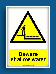 free printable beware shallow water warning sign