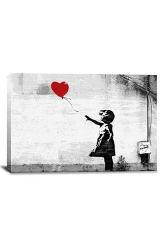 Street Art: Girl With a Balloon 18in x 12in Canvas Print