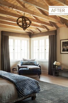 """""""When I first started working with the developer, this space just had a regular ceiling—all of the beams were hidden above the drywall,"""" says Perera of the bedroom. """"I absolutely love that it has such a great barnlike feeling now. We just kept it as raw wood and added a seal on top."""""""
