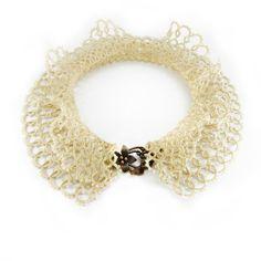 Handmade lace ruffle neck collar - wedding choker tatting by Decoromana