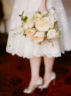 love this bouquet, and the lace tea-length dress