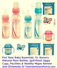 First Year Baby Essentials: Dr. Brown's Natural Flow Bottles, Spill-Proof Sippy Cups, Pacifiers & Healthy Wipes Review and #Giveaway #Babies #DrBrown'sBaby