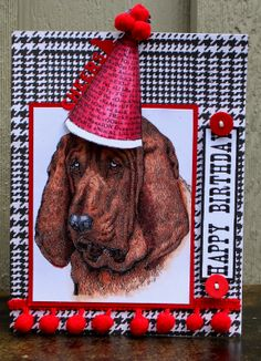 Men's Birthday card by Elizabeth Lincoln using hound dog from Crafty Secrets NEW Big Dog Digital Stamp Set. She colored him with Copic Markers and used the hat in the set and coloured it copics, cut it wider and wrapped it around a pencil for 3D dimension.