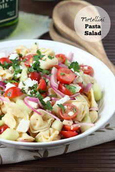 tortellini pasta salad, summer side, tomato, cucumber and onions