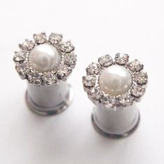 0g 8mm 2g 6mm Flowery Pearl  Rhinestone 316L by Glamsquared, 22.50