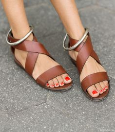 Woman by Common Projects brown sandals, silver anklets / Garance Doré