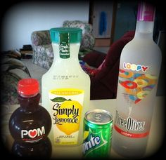 Loopy Lemonade     Ingredients    Two shots Three Olives Loopy Vodka    1 Cup Lemonade    Splash of Pom Wonderful Pomegranate Juice    Splash of Sprite     Directions    1. Fill a tall glass with ice.    2. Pour in vodka first, then remaining ingredients.    3. Mix a little.     4. Drink. Enjoy. Repeat!    TGIF my friends!
