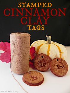 Fragrant Stamped Cinnamon Clay Tags - Mad in Crafts
