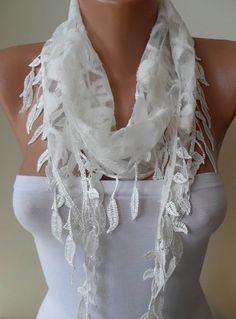 White Laced Scarf with White Trim Edge Shaped by SwedishShop, $17.90