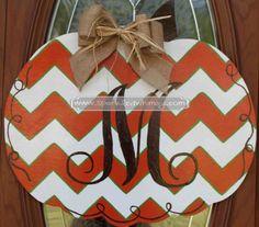 Monogrammed Chevron Pumpkin Fall Door Hanger Sign on Etsy, $40.00