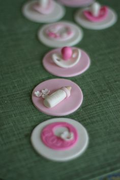Baby Shower Fondant Bib, Bottle and Pacifier Toppers for Cupcakes, Cookies or Mini-Cakes. $20.00, via Etsy.