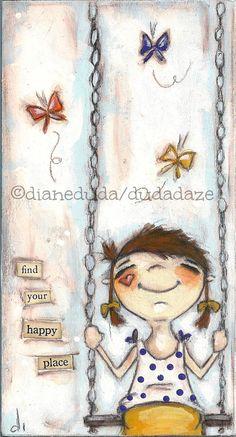 """Happy Place""  original mini painting on wood ©dianeduda/dudadaze"