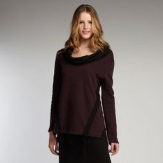 INDIGENOUS organic cotton Fleece Pullover in Burgundy with black accents. Ethical fashion.