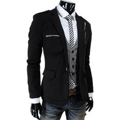 Men's Casual Zipper Point Slim Fit One Button Blazer Jacket