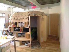 Cardboard bedroom!
