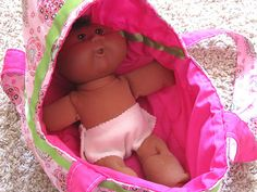 Baby doll bassinet carrier, pretend wipes, changing pad, etc. tutorial