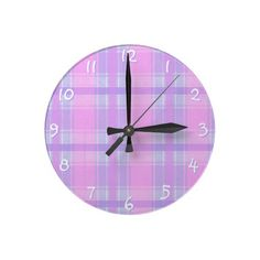 Trendy, classic and whimsical Wall clock. Beautiful soft pastel pink, lavender violet and light purple plaid tartan design. Colorful, funky and modern deco pattern. Vintage retro style motif for the hip fashionista, the fashion trend setter, or abstract grunge decor lover. Cute and fun birthday present or Christmas gift. Classy and chic wallclock for the master or children's bedroom, college dorm, nursery, living or family room, log cabin, beach house, country cottage or vacation home.