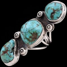 Three Stone Turquoise Ring - Old Pawn Rings | Alltribes