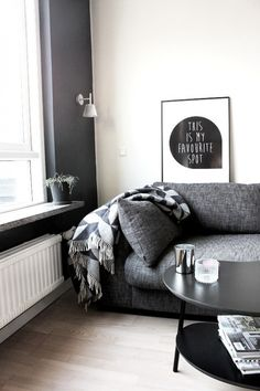 spots, living rooms, couch, home interiors, colors, art, black white, grey, live room
