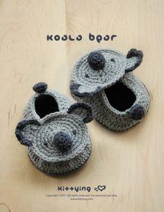 Koala Bear Baby Booties Crochet PATTERN, SYMBOL DIAGRAM (pdf). $7.80, via Etsy.