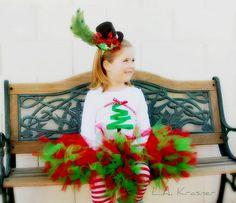 Christmas tutu,ribbon tree and mini top hat! #mini #hat #christmas #tutu #ribbon #tree