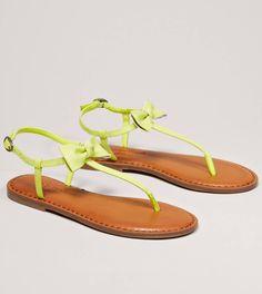 lemons, colors, bow sandal, american eagle outfitters, lemon lime, bows, limes, eagles, neon yellow