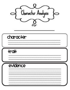 Free character analysis frames and mini lesson idea