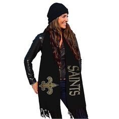 Wrap up your NFL spirit look with this sparkling pashmina. A sequined logo and team name offer up big style when the weather chills but you still want to show team pride.