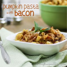 Pumpkin Pasta with Bacon - Macaroni with a creamy pumpkin sauce and tasty chunks of bacon make this dish a filling and delicious family hit!