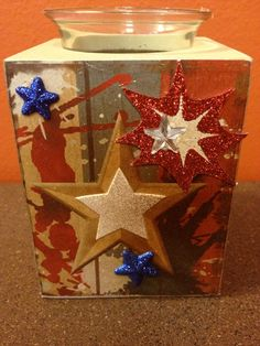 """""""Free Shipping""""  4th of July Patriotic Memorial Day Vintage Inspired hand embellished  Votive  Holder by HaileyHarrison  ... $9.99"""