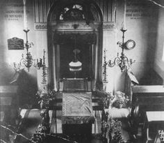 View of the sanctuary of the synagogue in Elsdorf, Germany before its destruction on Kristallnacht. 1938.